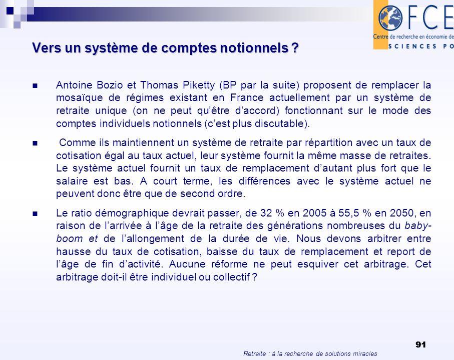 Retraite : à la recherche de solutions miracles 91 Vers un système de comptes notionnels ? Antoine Bozio et Thomas Piketty (BP par la suite) proposent