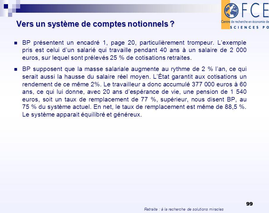 Retraite : à la recherche de solutions miracles 99 Vers un système de comptes notionnels ? BP présentent un encadré 1, page 20, particulièrement tromp