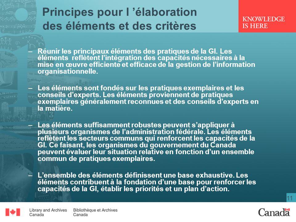 11 Principes pour l élaboration des éléments et des critères –Réunir les principaux éléments des pratiques de la GI.