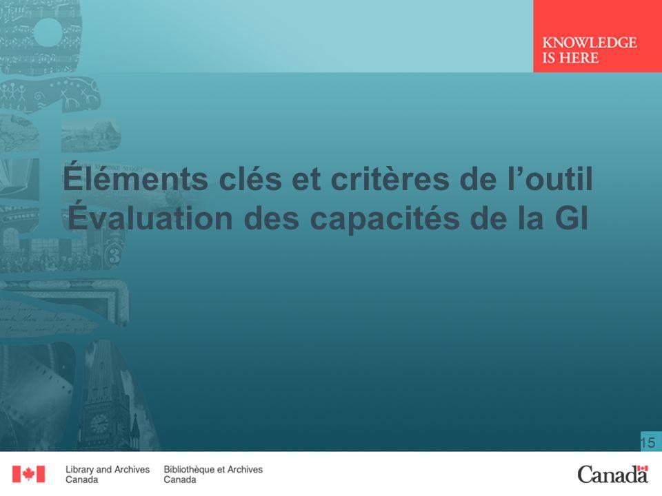 15 Éléments clés et critères de loutil Évaluation des capacités de la GI
