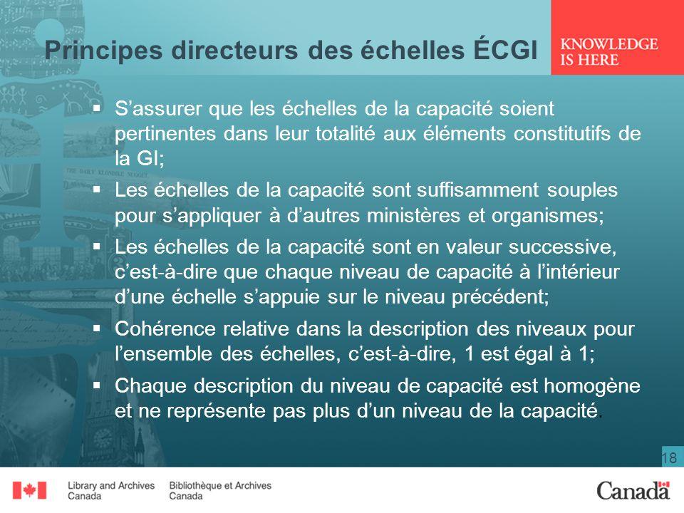 18 Principes directeurs des échelles ÉCGI Sassurer que les échelles de la capacité soient pertinentes dans leur totalité aux éléments constitutifs de la GI; Les échelles de la capacité sont suffisamment souples pour sappliquer à dautres ministères et organismes; Les échelles de la capacité sont en valeur successive, cest-à-dire que chaque niveau de capacité à lintérieur dune échelle sappuie sur le niveau précédent; Cohérence relative dans la description des niveaux pour lensemble des échelles, cest-à-dire, 1 est égal à 1; Chaque description du niveau de capacité est homogène et ne représente pas plus dun niveau de la capacité.