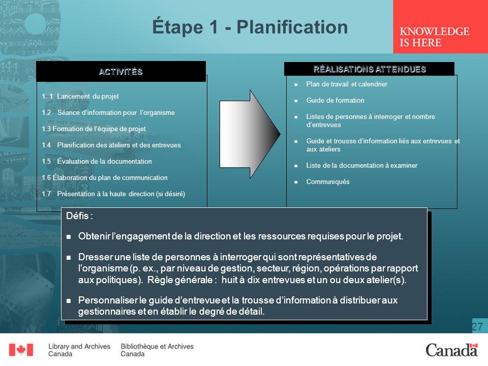 27 Étape 1 - PlanificationACTIVITÉS RÉALISATIONS ATTENDUES 1.