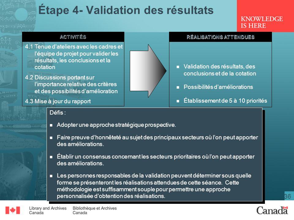 36 Étape 4- Validation des résultatsACTIVITÉS RÉALISATIONS ATTENDUES 4.1Tenue dateliers avec les cadres et léquipe de projet pour valider les résultats, les conclusions et la cotation 4.2Discussions portant sur limportance relative des critères et des possibilités damélioration 4.3Mise à jour du rapport n Validation des résultats, des conclusions et de la cotation n Possibilités daméliorations n Établissement de 5 à 10 priorités Défis : n Adopter une approche stratégique prospective.