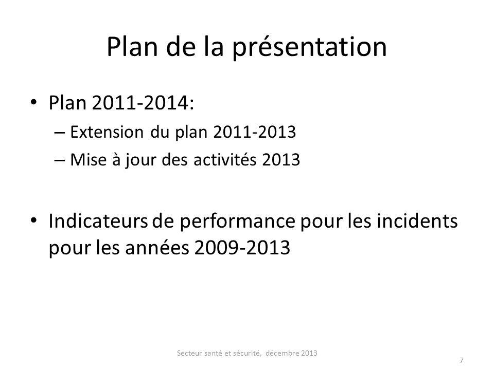 Plan de la présentation Plan 2011-2014: – Extension du plan 2011-2013 – Mise à jour des activités 2013 Indicateurs de performance pour les incidents p