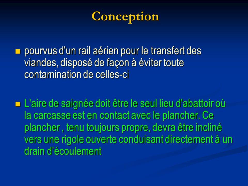 Conception pourvus d'un rail aérien pour le transfert des viandes, disposé de façon à éviter toute contamination de celles-ci pourvus d'un rail aérien
