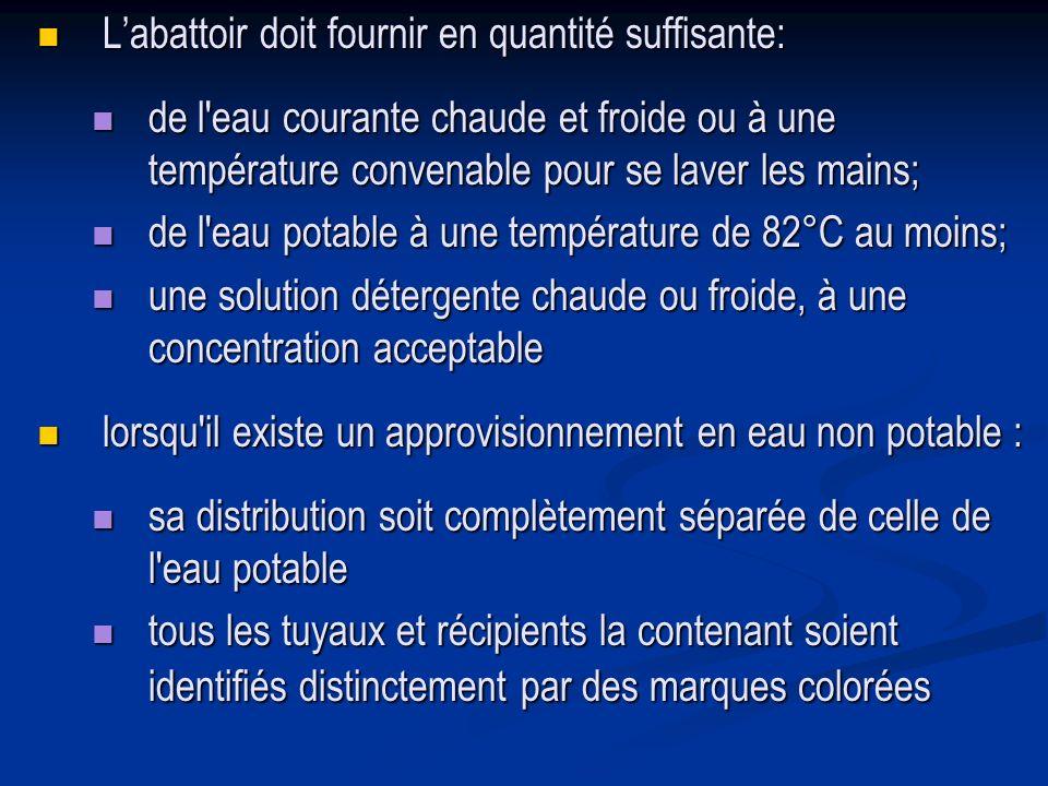 Labattoir doit fournir en quantité suffisante: Labattoir doit fournir en quantité suffisante: de l'eau courante chaude et froide ou à une température
