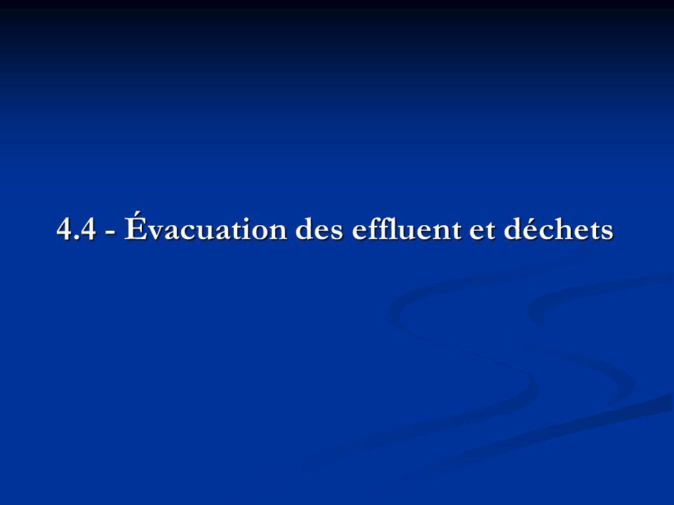 4.4 - Évacuation des effluent et déchets 4.4 - Évacuation des effluent et déchets
