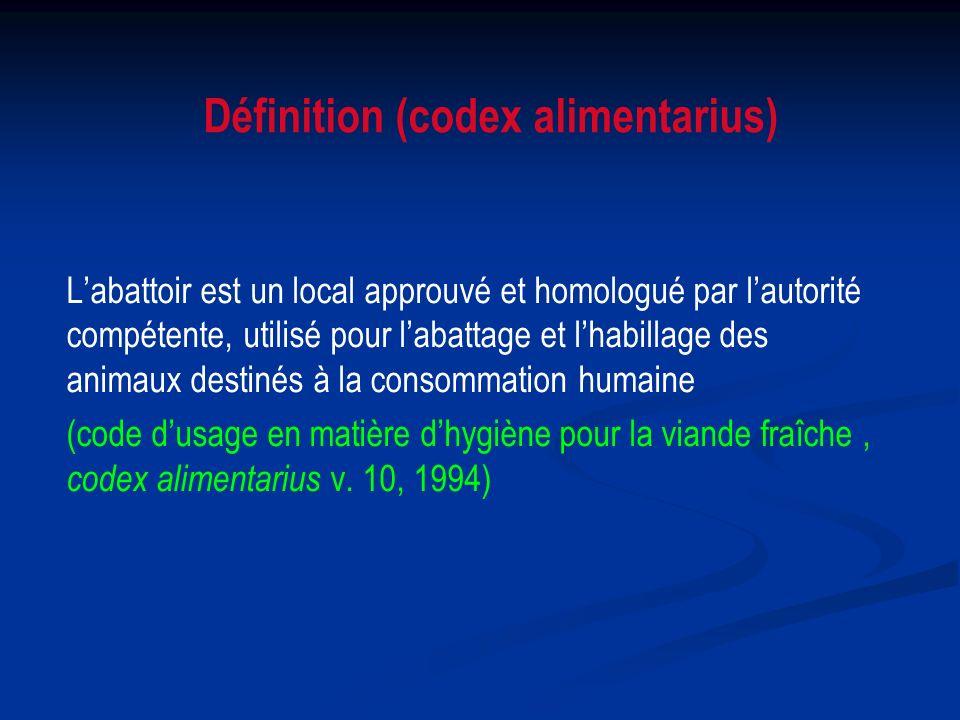 Labattoir est un local approuvé et homologué par lautorité compétente, utilisé pour labattage et lhabillage des animaux destinés à la consommation hum