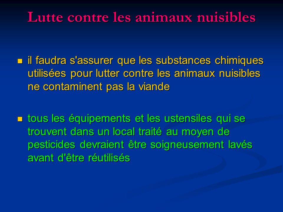 Lutte contre les animaux nuisibles il faudra s'assurer que les substances chimiques utilisées pour lutter contre les animaux nuisibles ne contaminent