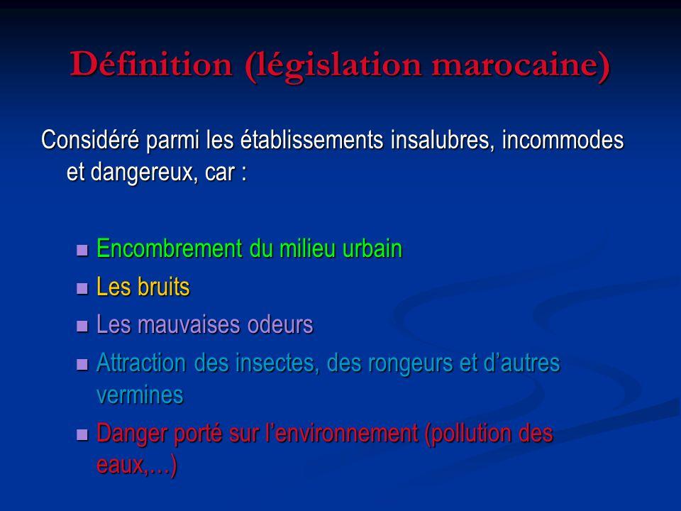 Définition (législation marocaine) Considéré parmi les établissements insalubres, incommodes et dangereux, car : Encombrement du milieu urbain Encombr