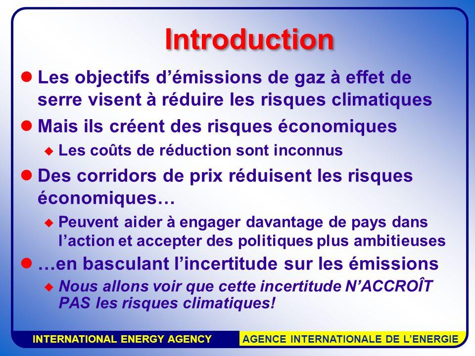 INTERNATIONAL ENERGY AGENCY AGENCE INTERNATIONALE DE LENERGIE Les objectifs démissions de gaz à effet de serre visent à réduire les risques climatique