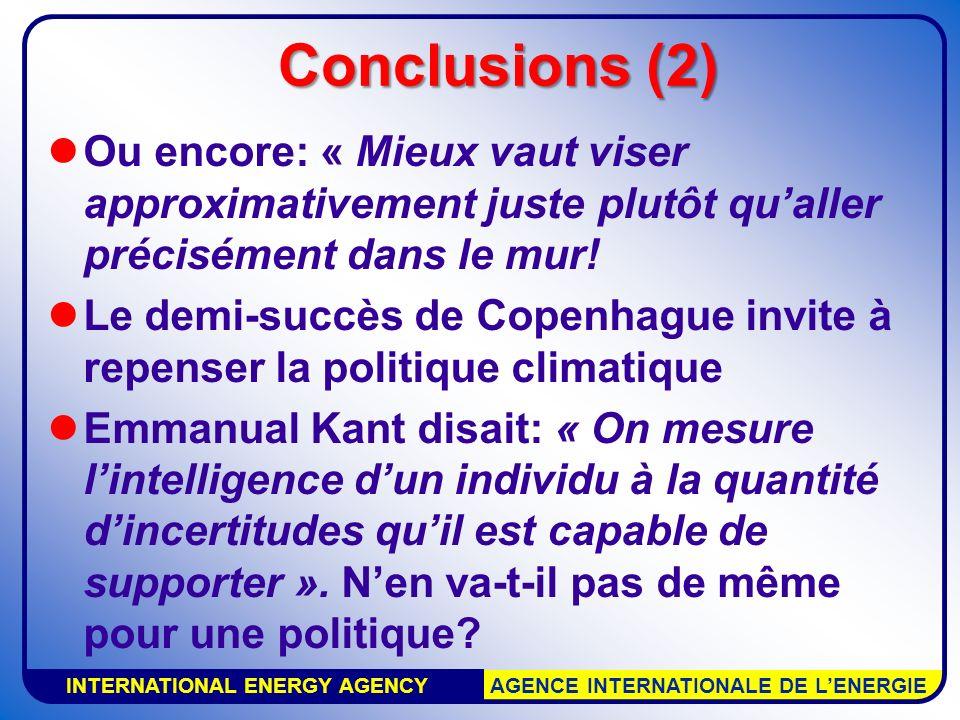 INTERNATIONAL ENERGY AGENCY AGENCE INTERNATIONALE DE LENERGIE Conclusions (2) Ou encore: « Mieux vaut viser approximativement juste plutôt qualler pré