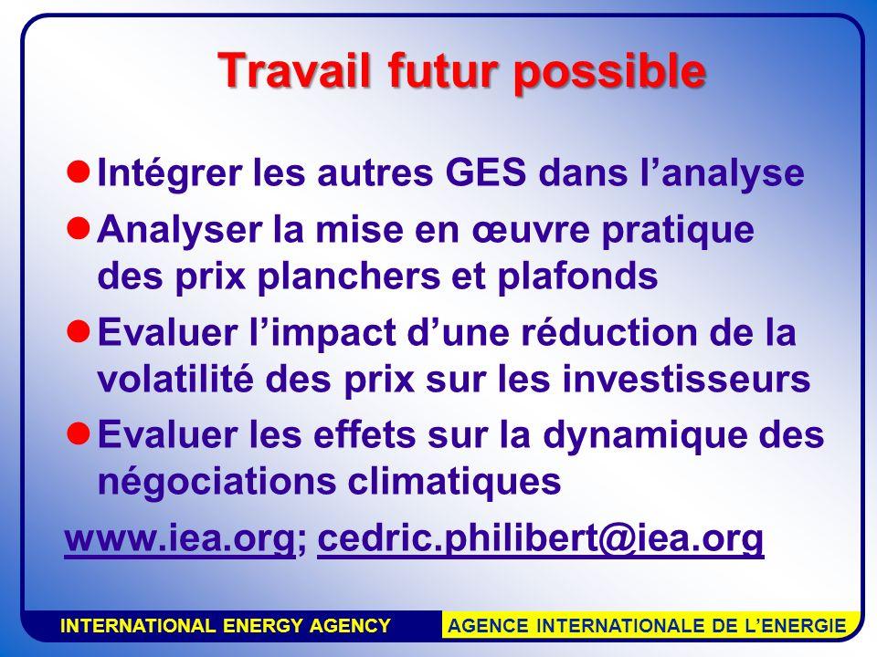 INTERNATIONAL ENERGY AGENCY AGENCE INTERNATIONALE DE LENERGIE Travail futur possible Intégrer les autres GES dans lanalyse Analyser la mise en œuvre p