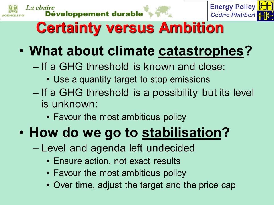 Energy Policy Cédric Philibert What about climate catastrophes.