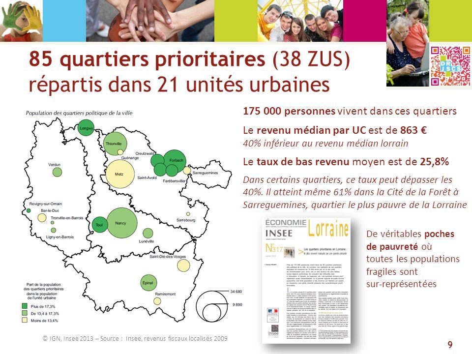 85 quartiers prioritaires (38 ZUS) répartis dans 21 unités urbaines © IGN, Insee 2013 – Source : Insee, revenus fiscaux localisés 2009 175 000 personn