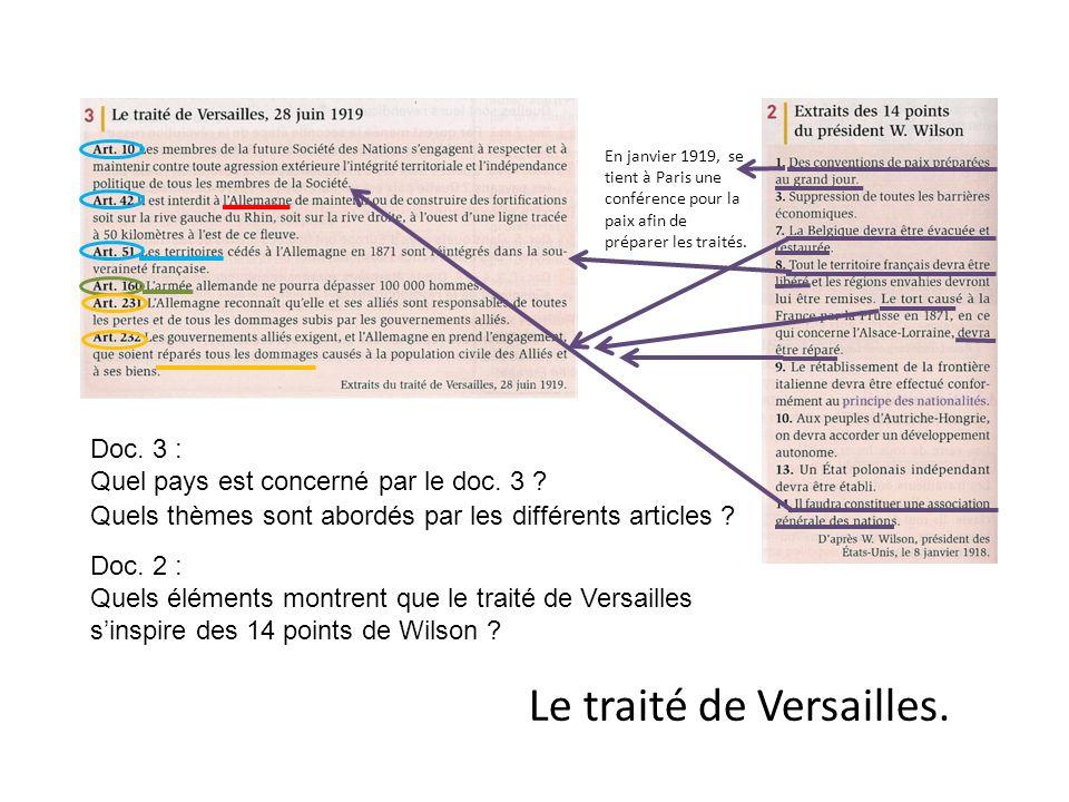 Doc. 3 : Quel pays est concerné par le doc. 3 ? Quels thèmes sont abordés par les différents articles ? Doc. 2 : Quels éléments montrent que le traité