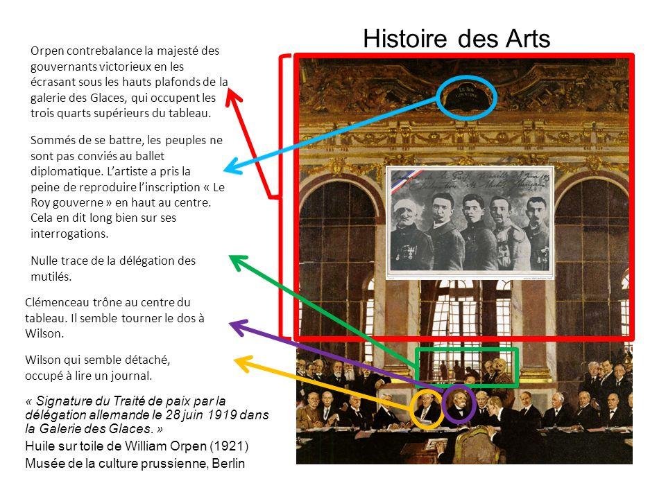 Histoire des Arts « Signature du Traité de paix par la délégation allemande le 28 juin 1919 dans la Galerie des Glaces. » Huile sur toile de William O