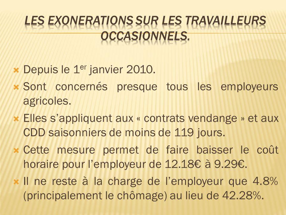 Depuis le 1 er janvier 2010. Sont concernés presque tous les employeurs agricoles. Elles sappliquent aux « contrats vendange » et aux CDD saisonniers