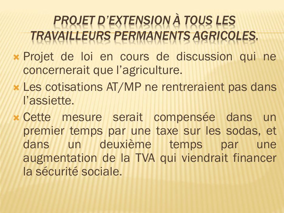 Projet de loi en cours de discussion qui ne concernerait que lagriculture. Les cotisations AT/MP ne rentreraient pas dans lassiette. Cette mesure sera