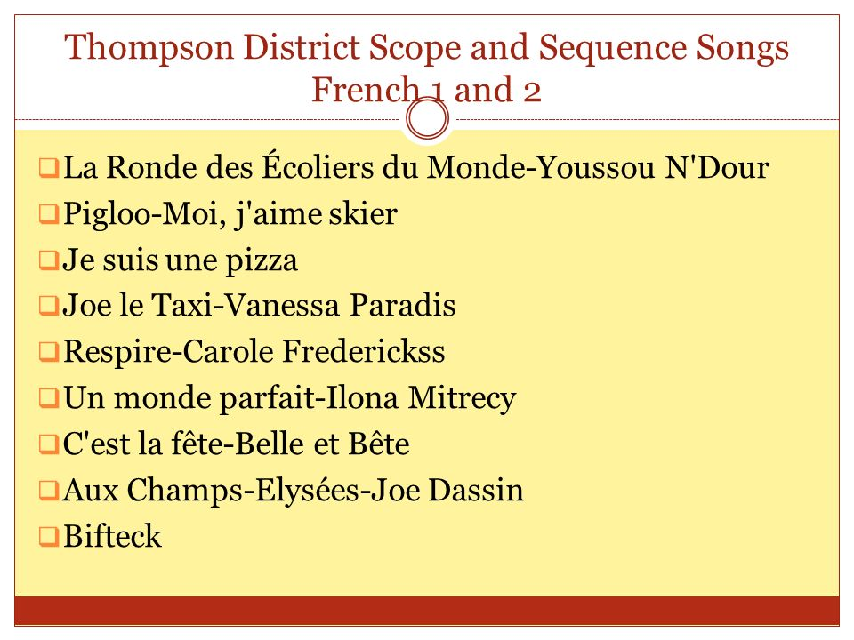 Thompson District Scope and Sequence Songs French 1 and 2 La Ronde des Écoliers du Monde-Youssou N'Dour Pigloo-Moi, j'aime skier Je suis une pizza Joe