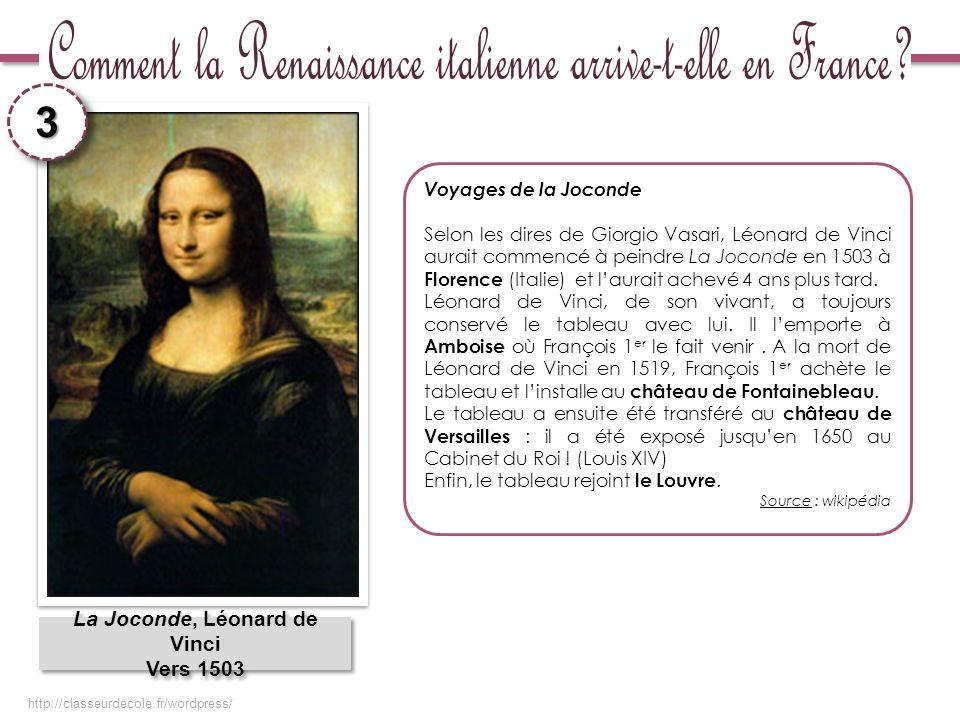 La Joconde, Léonard de Vinci Vers 1503 La Joconde, Léonard de Vinci Vers 1503 Voyages de la Joconde Selon les dires de Giorgio Vasari, Léonard de Vinc