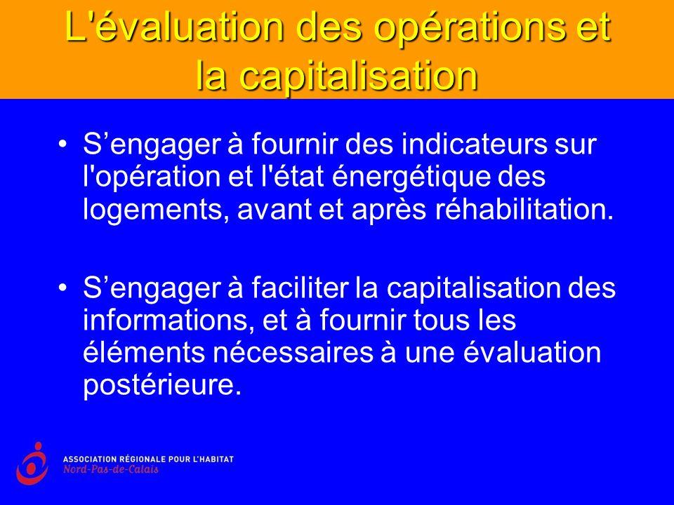 L évaluation des opérations et la capitalisation Sengager à fournir des indicateurs sur l opération et l état énergétique des logements, avant et après réhabilitation.