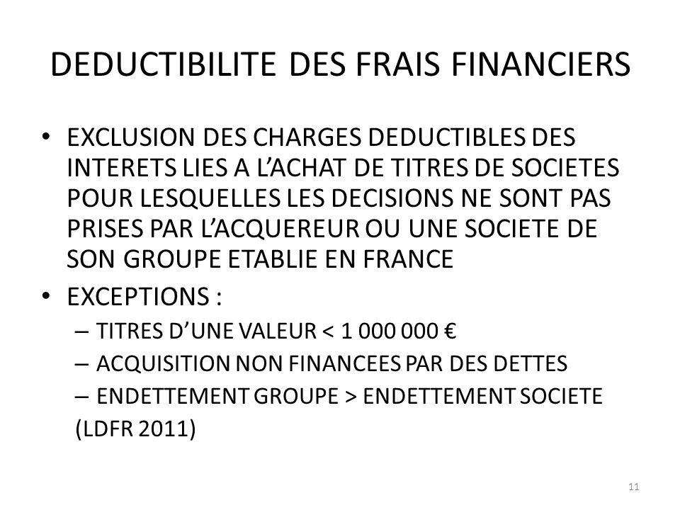 DEDUCTIBILITE DES FRAIS FINANCIERS EXCLUSION DES CHARGES DEDUCTIBLES DES INTERETS LIES A LACHAT DE TITRES DE SOCIETES POUR LESQUELLES LES DECISIONS NE SONT PAS PRISES PAR LACQUEREUR OU UNE SOCIETE DE SON GROUPE ETABLIE EN FRANCE EXCEPTIONS : – TITRES DUNE VALEUR < 1 000 000 – ACQUISITION NON FINANCEES PAR DES DETTES – ENDETTEMENT GROUPE > ENDETTEMENT SOCIETE (LDFR 2011) 11