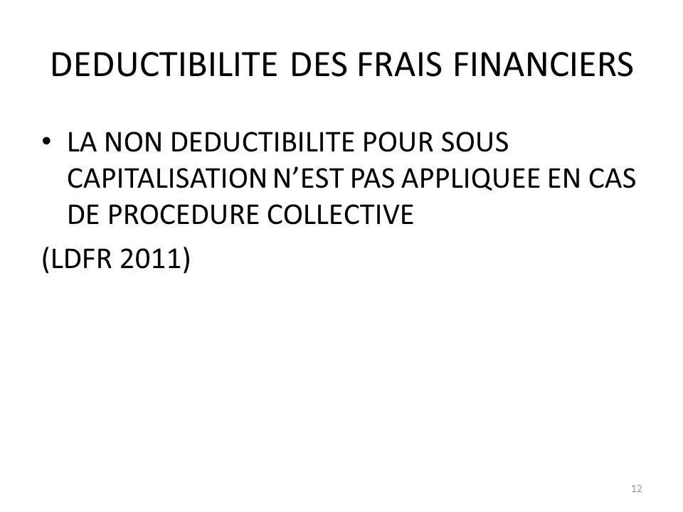 DEDUCTIBILITE DES FRAIS FINANCIERS LA NON DEDUCTIBILITE POUR SOUS CAPITALISATION NEST PAS APPLIQUEE EN CAS DE PROCEDURE COLLECTIVE (LDFR 2011) 12