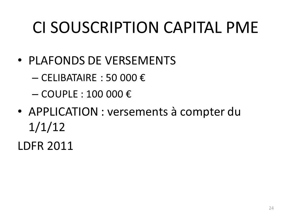 CI SOUSCRIPTION CAPITAL PME PLAFONDS DE VERSEMENTS – CELIBATAIRE : 50 000 – COUPLE : 100 000 APPLICATION : versements à compter du 1/1/12 LDFR 2011 24