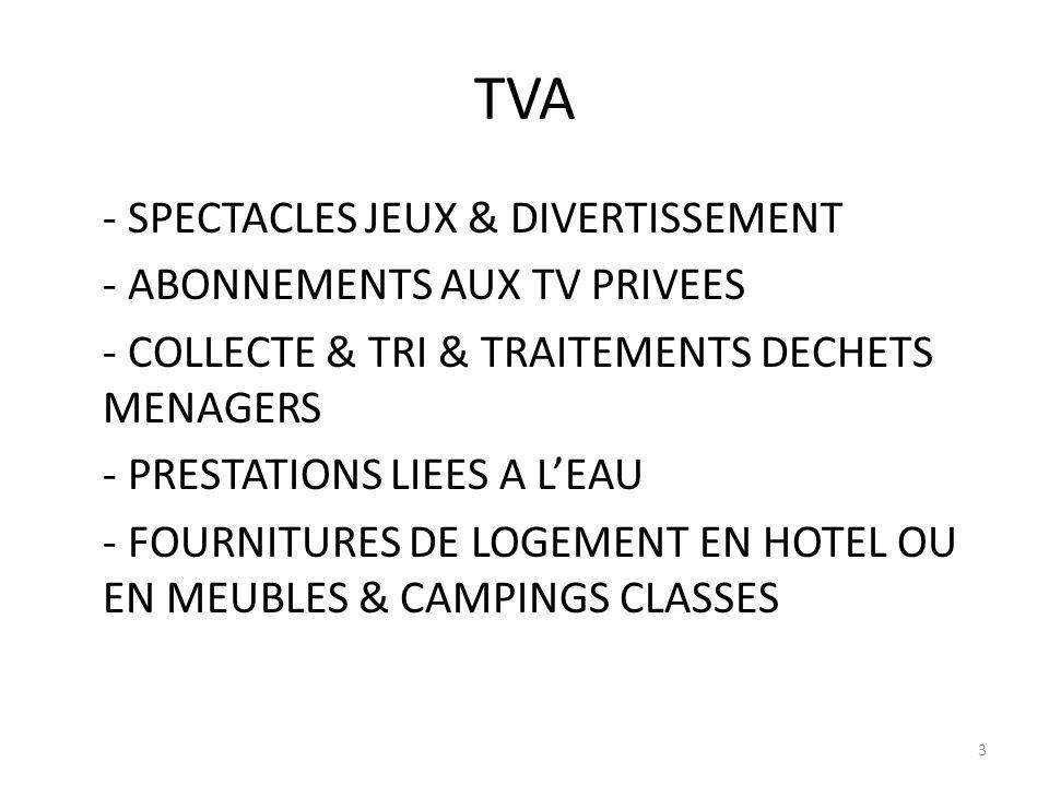 TVA - SPECTACLES JEUX & DIVERTISSEMENT - ABONNEMENTS AUX TV PRIVEES - COLLECTE & TRI & TRAITEMENTS DECHETS MENAGERS - PRESTATIONS LIEES A LEAU - FOURNITURES DE LOGEMENT EN HOTEL OU EN MEUBLES & CAMPINGS CLASSES 3