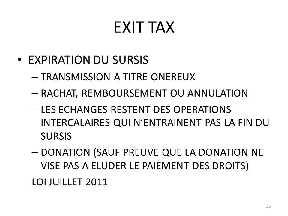 EXIT TAX EXPIRATION DU SURSIS – TRANSMISSION A TITRE ONEREUX – RACHAT, REMBOURSEMENT OU ANNULATION – LES ECHANGES RESTENT DES OPERATIONS INTERCALAIRES