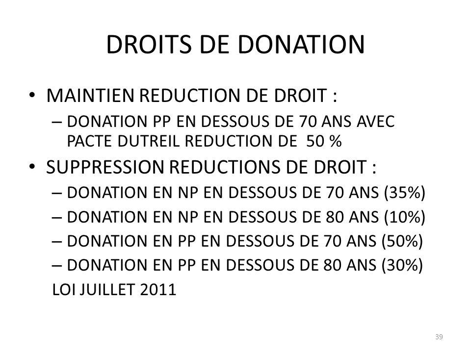 DROITS DE DONATION MAINTIEN REDUCTION DE DROIT : – DONATION PP EN DESSOUS DE 70 ANS AVEC PACTE DUTREIL REDUCTION DE 50 % SUPPRESSION REDUCTIONS DE DROIT : – DONATION EN NP EN DESSOUS DE 70 ANS (35%) – DONATION EN NP EN DESSOUS DE 80 ANS (10%) – DONATION EN PP EN DESSOUS DE 70 ANS (50%) – DONATION EN PP EN DESSOUS DE 80 ANS (30%) LOI JUILLET 2011 39