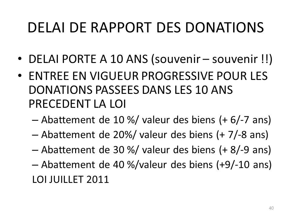 DELAI DE RAPPORT DES DONATIONS DELAI PORTE A 10 ANS (souvenir – souvenir !!) ENTREE EN VIGUEUR PROGRESSIVE POUR LES DONATIONS PASSEES DANS LES 10 ANS PRECEDENT LA LOI – Abattement de 10 %/ valeur des biens (+ 6/-7 ans) – Abattement de 20%/ valeur des biens (+ 7/-8 ans) – Abattement de 30 %/ valeur des biens (+ 8/-9 ans) – Abattement de 40 %/valeur des biens (+9/-10 ans) LOI JUILLET 2011 40