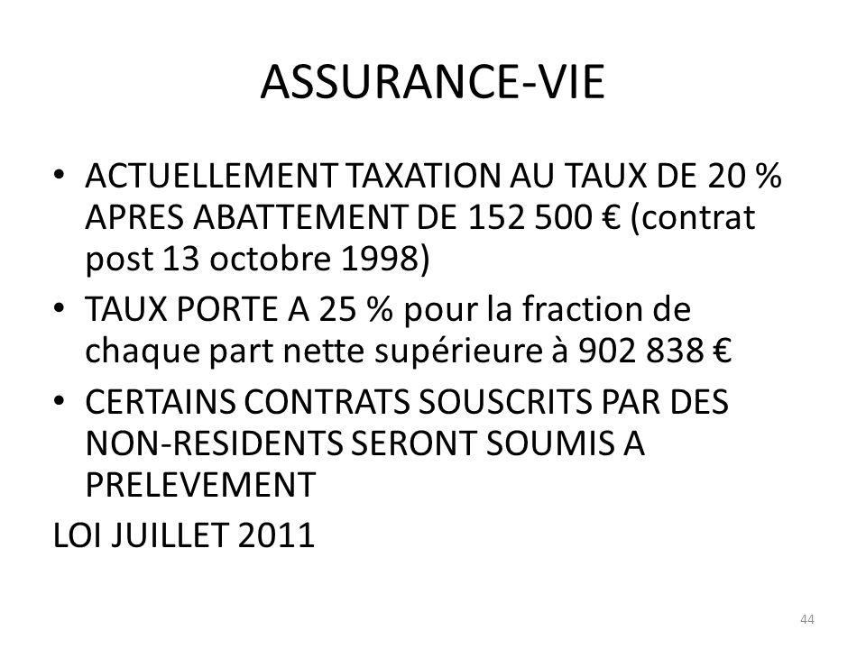 ASSURANCE-VIE ACTUELLEMENT TAXATION AU TAUX DE 20 % APRES ABATTEMENT DE 152 500 (contrat post 13 octobre 1998) TAUX PORTE A 25 % pour la fraction de c