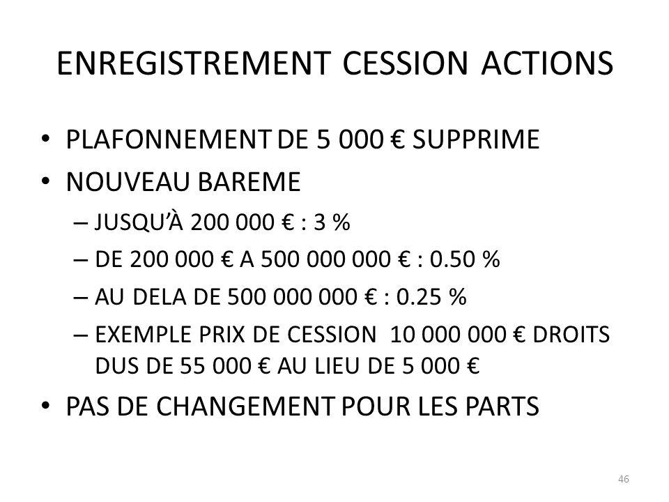 ENREGISTREMENT CESSION ACTIONS PLAFONNEMENT DE 5 000 SUPPRIME NOUVEAU BAREME – JUSQUÀ 200 000 : 3 % – DE 200 000 A 500 000 000 : 0.50 % – AU DELA DE 500 000 000 : 0.25 % – EXEMPLE PRIX DE CESSION 10 000 000 DROITS DUS DE 55 000 AU LIEU DE 5 000 PAS DE CHANGEMENT POUR LES PARTS 46