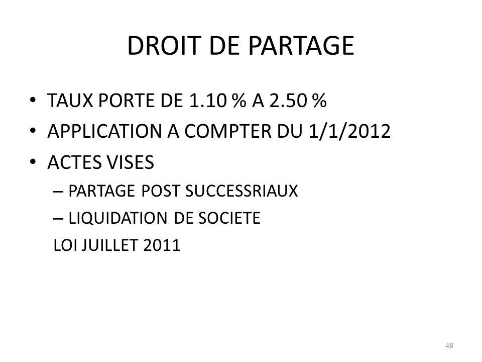DROIT DE PARTAGE TAUX PORTE DE 1.10 % A 2.50 % APPLICATION A COMPTER DU 1/1/2012 ACTES VISES – PARTAGE POST SUCCESSRIAUX – LIQUIDATION DE SOCIETE LOI JUILLET 2011 48
