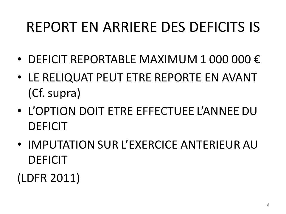 REPORT EN ARRIERE DES DEFICITS IS DEFICIT REPORTABLE MAXIMUM 1 000 000 LE RELIQUAT PEUT ETRE REPORTE EN AVANT (Cf. supra) LOPTION DOIT ETRE EFFECTUEE