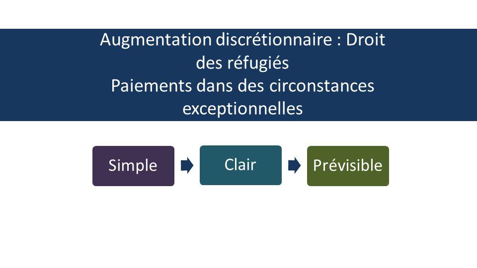 SimpleClairPrévisible Augmentation discrétionnaire : Droit des réfugiés Paiements dans des circonstances exceptionnelles