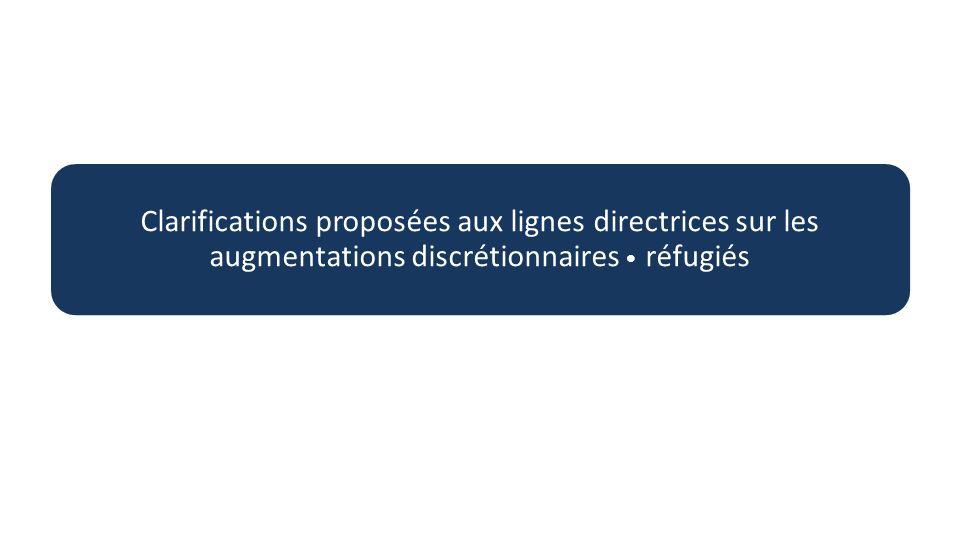 Clarifications proposées aux lignes directrices sur les augmentations discrétionnaires réfugiés