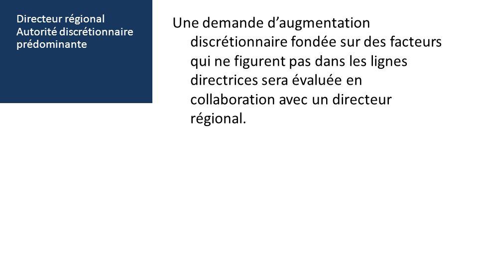 Une demande daugmentation discrétionnaire fondée sur des facteurs qui ne figurent pas dans les lignes directrices sera évaluée en collaboration avec un directeur régional.