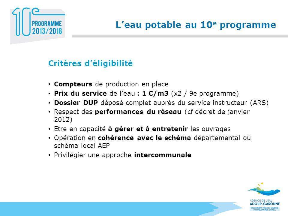 Leau potable au 10 e programme Critères déligibilité Compteurs de production en place Prix du service de leau : 1 /m3 (x2 / 9e programme) Dossier DUP