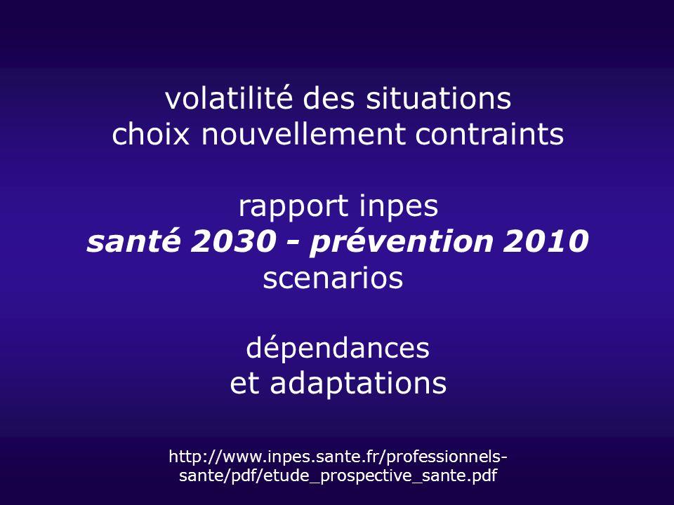 volatilité des situations choix nouvellement contraints rapport inpes santé 2030 - prévention 2010 scenarios dépendances et adaptations http://www.inp