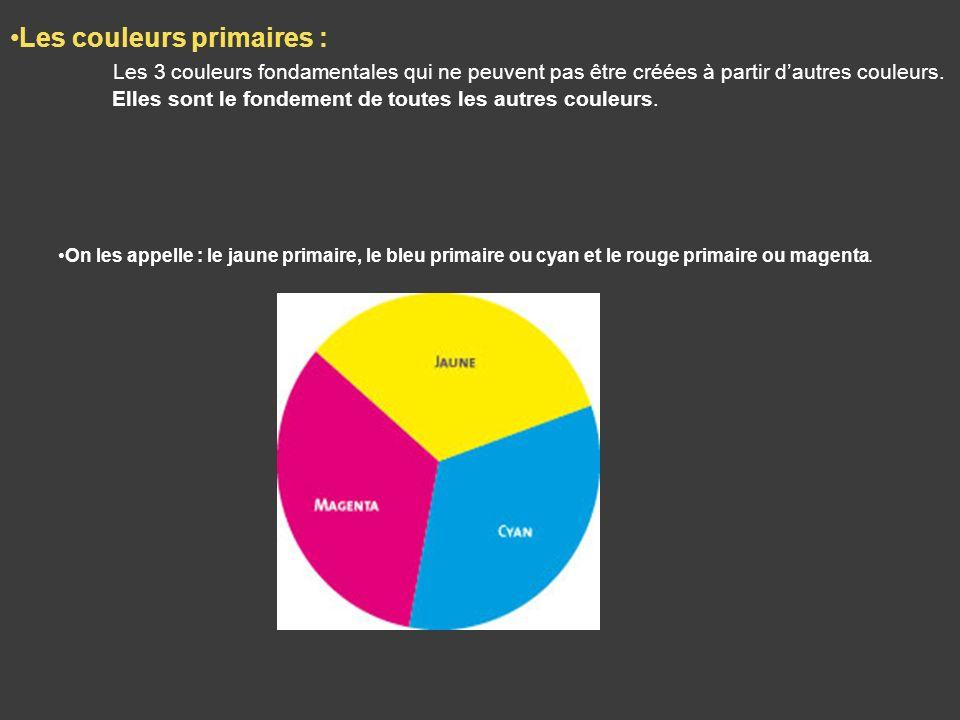 Les couleurs primaires : Les 3 couleurs fondamentales qui ne peuvent pas être créées à partir dautres couleurs. Elles sont le fondement de toutes les