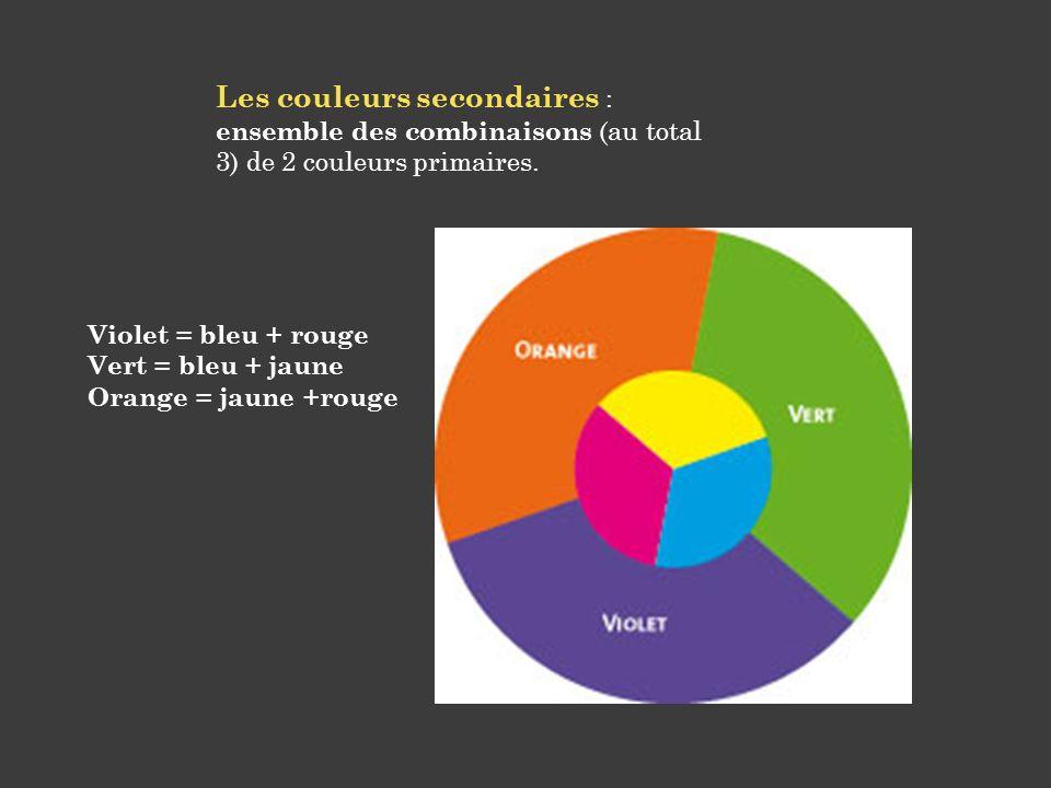 Les couleurs secondaires : ensemble des combinaisons (au total 3) de 2 couleurs primaires. Violet = bleu + rouge Vert = bleu + jaune Orange = jaune +r