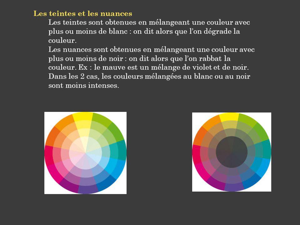 Les teintes et les nuances Les teintes sont obtenues en mélangeant une couleur avec plus ou moins de blanc : on dit alors que lon dégrade la couleur.