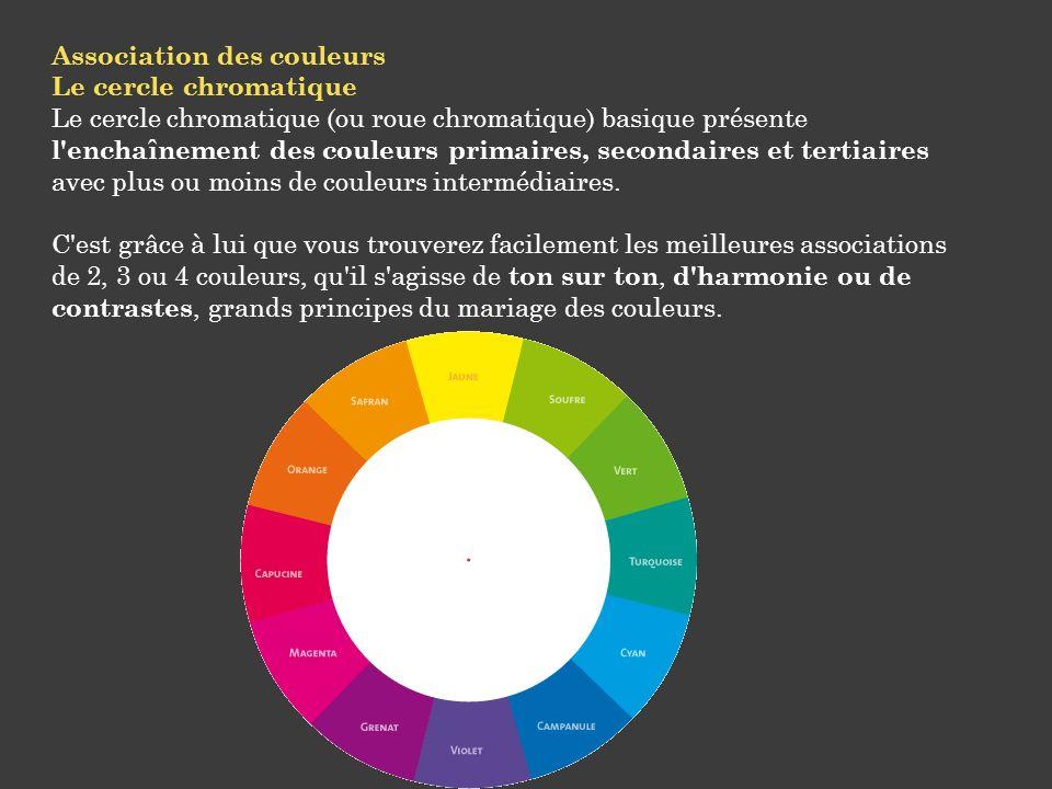 Association des couleurs Le cercle chromatique Le cercle chromatique (ou roue chromatique) basique présente l'enchaînement des couleurs primaires, sec