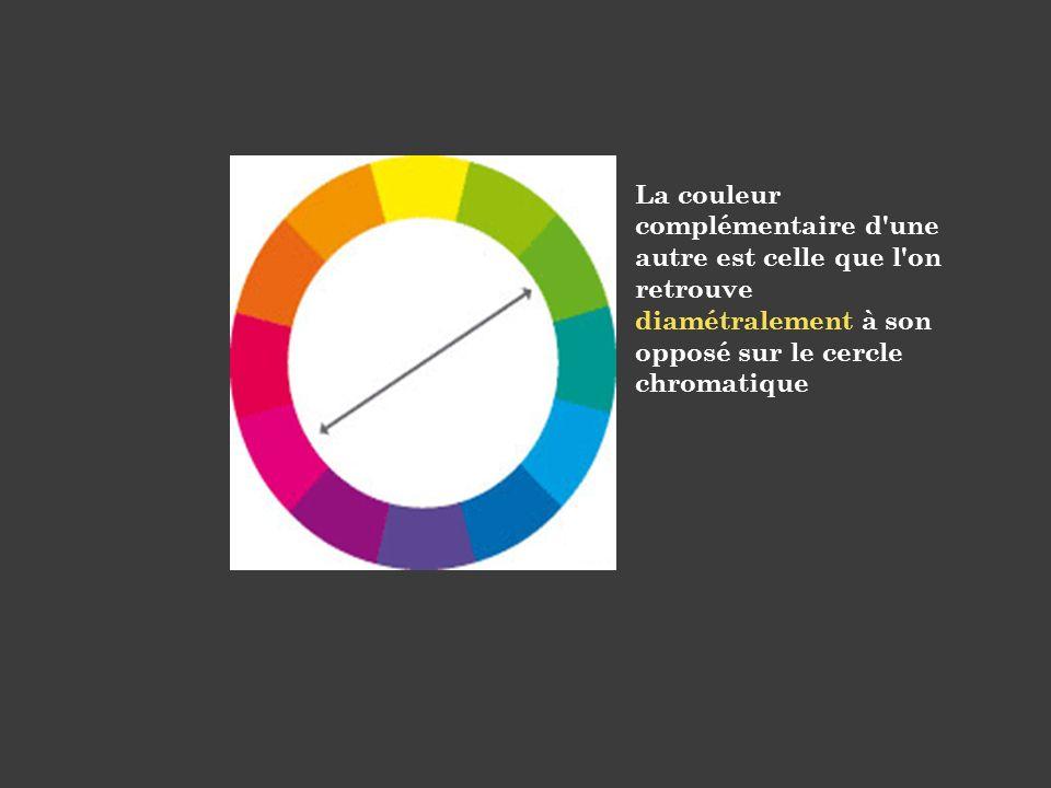 La couleur complémentaire d'une autre est celle que l'on retrouve diamétralement à son opposé sur le cercle chromatique