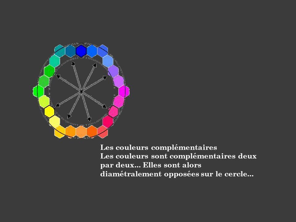 Les couleurs complémentaires Les couleurs sont complémentaires deux par deux... Elles sont alors diamétralement opposées sur le cercle...