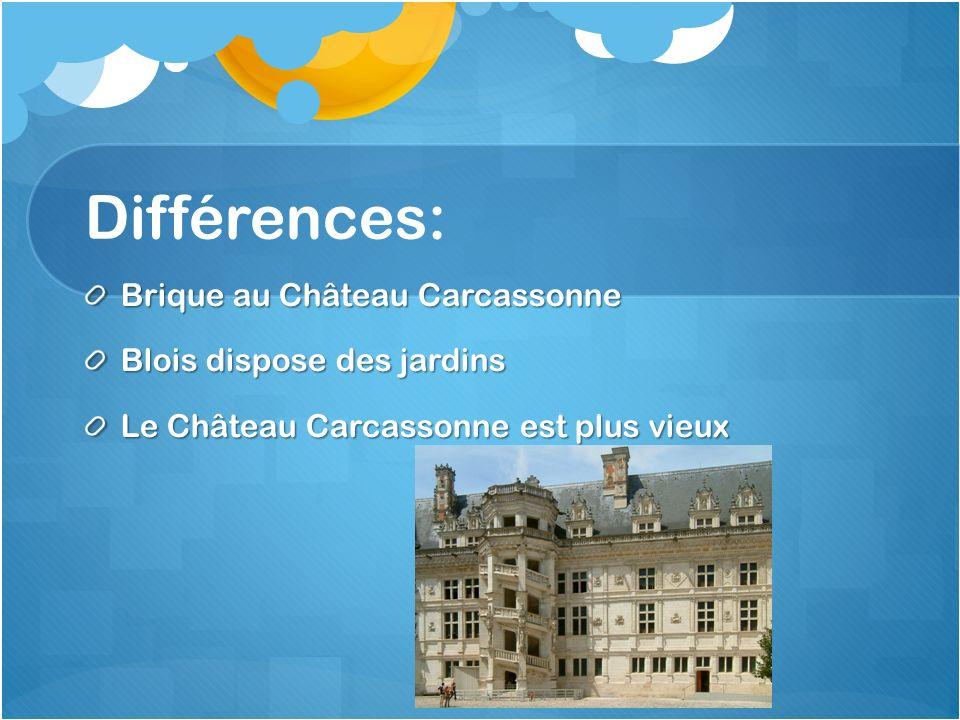 Différences: Brique au Château Carcassonne Blois dispose des jardins Le Château Carcassonne est plus vieux