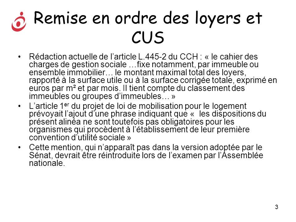 3 Remise en ordre des loyers et CUS Rédaction actuelle de larticle L.445-2 du CCH : « le cahier des charges de gestion sociale …fixe notamment, par im